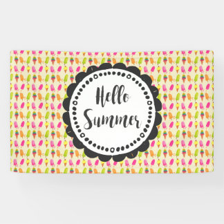 Hello Summer Popsicles and Ice Cream Banner
