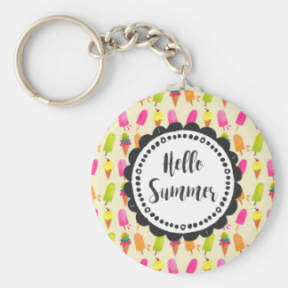 Hello Summer Popsicles and Ice Cream Key Ring