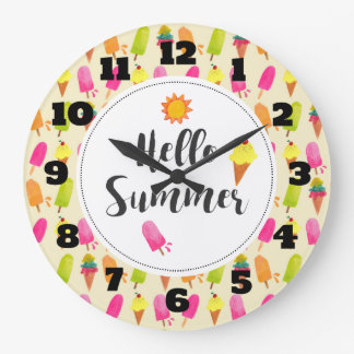 Hello Summer Popsicles and Ice Cream Large Clock