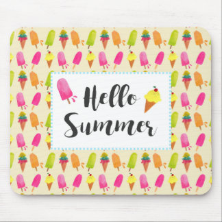 Hello Summer Popsicles and Ice Cream Mouse Pad
