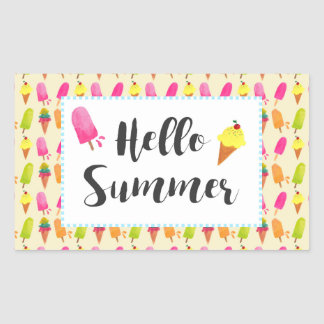 Hello Summer Popsicles and Ice Cream Rectangular Sticker