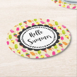 Hello Summer Popsicles and Ice Cream Round Paper Coaster