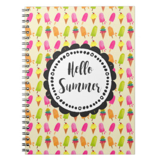 Hello Summer Popsicles and Ice Cream Spiral Notebook