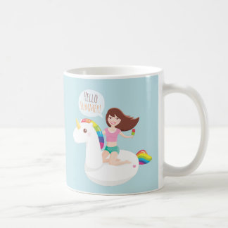 Hello Summer Rainbow Unicorn Pool Float Girls Mug