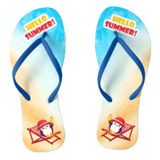 Hello Summer Sunbathing Penguin Thongs