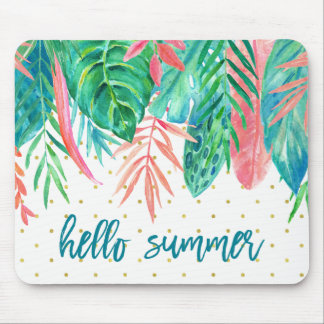 Hello Summer | Tropical Watercolor and Gold Dots Mouse Pad