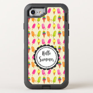 Hello Summer Typography Popsicles and Ice Cream OtterBox Defender iPhone 8/7 Case