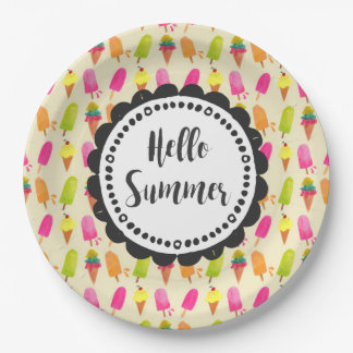 Hello Summer Typography Popsicles and Ice Cream Paper Plate