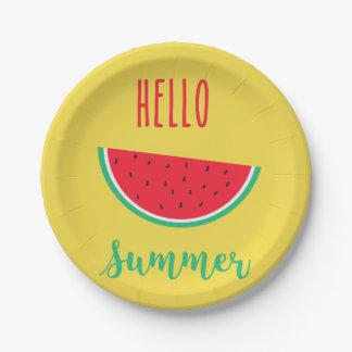 Hello Summer - Watermelon Paper Plate