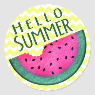 Hello Summer Watermelon Slice Classic Round Sticker
