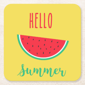 Hello Summer - Watermelon Square Paper Coaster