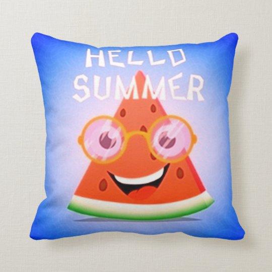 Hello Summer Watermelon Throw Pillow