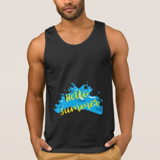 Hello Summer, Waves Graphic, Cool Black Singlet