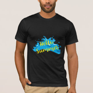 Hello Summer, Waves Graphic, Cool Black T-Shirt