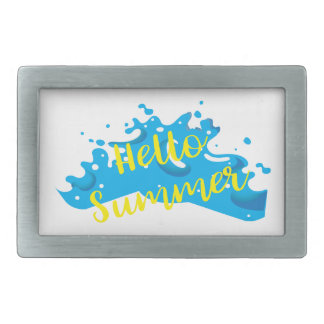 Hello Summer, Waves Graphic, Cool White Rectangular Belt Buckle