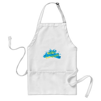 Hello Summer, Waves Graphic, Cool White Standard Apron