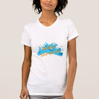 Hello Summer, Waves Graphic, Cool White T-Shirt