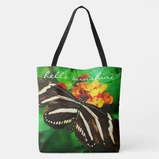 """""""Hello sunshine"""" black and white butterfly photo Tote Bag"""