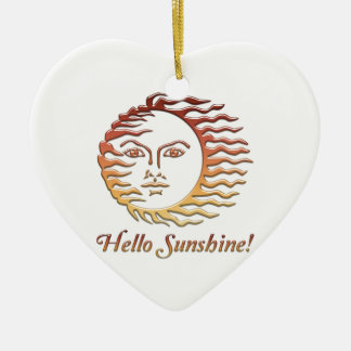HELLO SUNSHINE Fun Sun Summer Ceramic Ornament