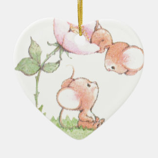 Hello Sunshine Mice with Flower Ceramic Heart Decoration