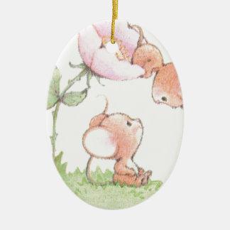 Hello Sunshine Mice with Flower Ceramic Oval Decoration