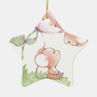 Hello Sunshine Mice with Flower Ceramic Star Decoration