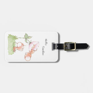 Hello Sunshine Mice with Flower Luggage Tag