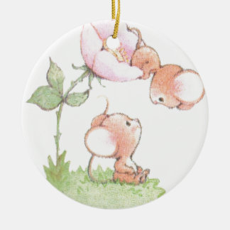 Hello Sunshine Mice with Flower Round Ceramic Decoration