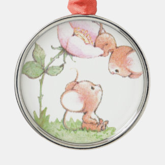 Hello Sunshine Mice with Flower Silver-Colored Round Decoration