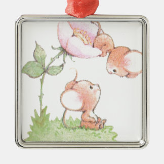 Hello Sunshine Mice with Flower Silver-Colored Square Decoration