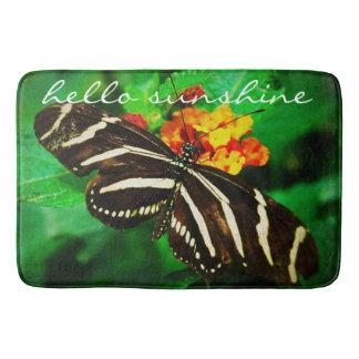 """Hello Sunshine"" Quote Black White Butterfly Photo Bath Mat"