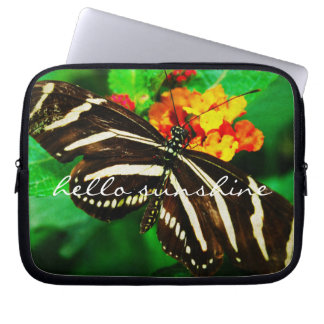 """Hello Sunshine"" Quote Black White Butterfly Photo Laptop Sleeve"