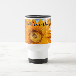Hello Sunshine Sunflower Art Travel Mug