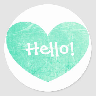 Hello Teal Heart Stickers