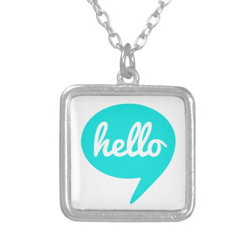 hello text design in teal speech bubble necklace