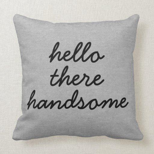Hello there handsome rustic chic burlap linen jut pillow