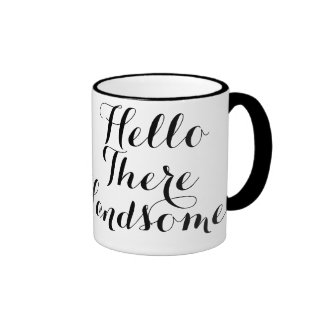 Hello There Handsome Typography Ringer Mug