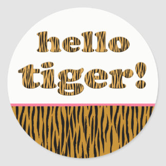 Hello Tiger!  | Fun Tigerprint Round Stickers