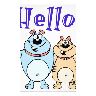 hello, two cute cartoons design customized stationery