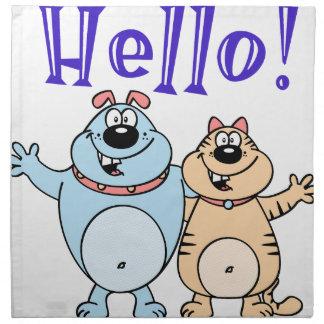 hello, two cute cartoons design napkin