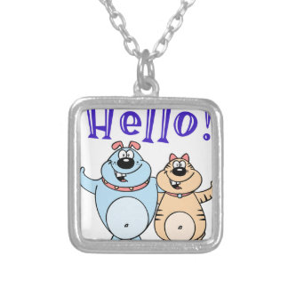 hello, two cute cartoons design silver plated necklace