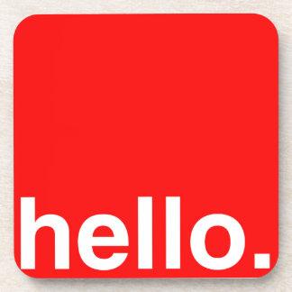 HELLO Typography Greeting Beverage Coasters