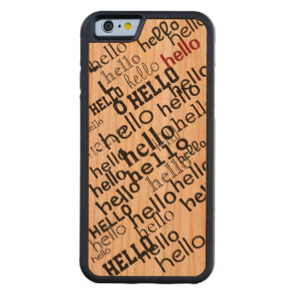 hello typography pattern carved cherry iPhone 6 bumper case