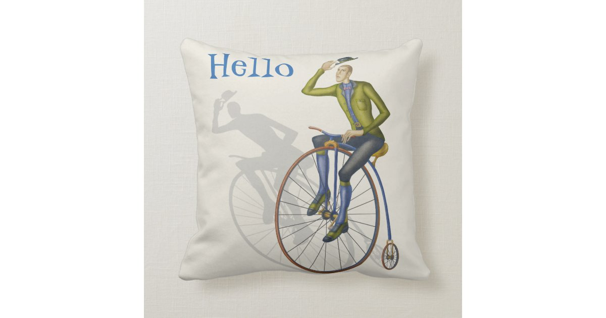 Hello, vintage bicycle rider throw pillow Zazzle
