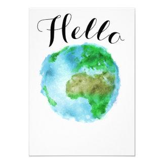 hello watercolor earth globe card invite party
