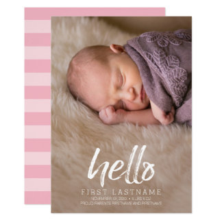 Hello Whimsical brushed letters Baby Girl Photo Card
