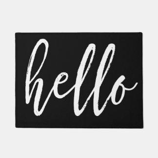 Hello White Script Doormat