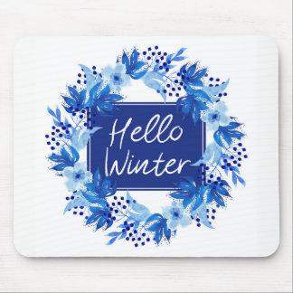 Hello Winter Blue Flower Mousepad White