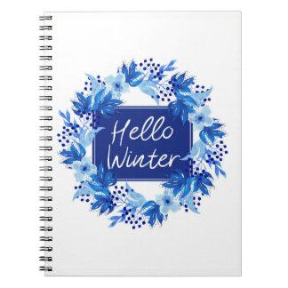 Hello Winter Blue Flower Notebook 80 White