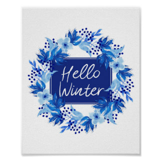 "Hello Winter Blue Flower print 8""x10"" Watercolor"